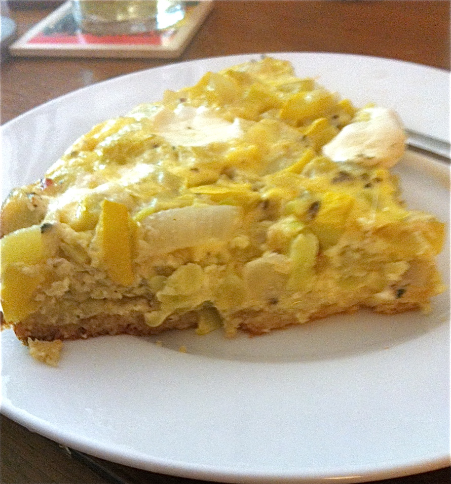 "Summer Squash ""Pie"" with Cornbread Crust 